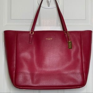 Coach Large Saffiano Leather City Tote in Red